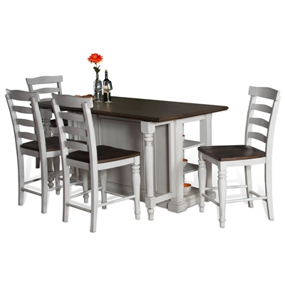 Carriage House 5 Piece Kitchen Island Table Set with Ladderback/Wood Seat Barstool by Sunny Designs - SD-1016EC-1432EC-24