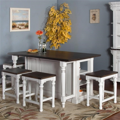 Carriage House 5 Piece Kitchen Island Table Set with Wood Seat Stool by Sunny Designs - SD-1016EC-1433EC-24