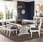 Carriage House 7 Piece Dining Room Set with Ladderback/Wood Seat Chair by Sunny Designs - SD-1041EC-1432EC