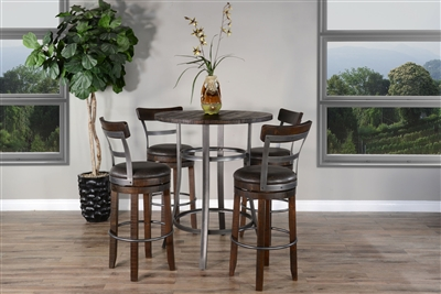 5 Piece Round Pub Table Dining Set with Barstool w/ Back & Swivel by Sunny Designs - SD-1127TL-42-1624TL2-B30