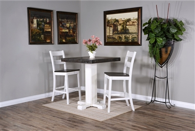 "Carriage House 3 Piece Pub Table Dining Room Set with 30""H Ladderback/Wood Seat Barstool by Sunny Designs - SD-1377EC-1508EC-30"