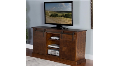 65 Inch TV Console w/ Barn Door in Dark Chocolate Finish by Sunny Designs - SD-3577DC2