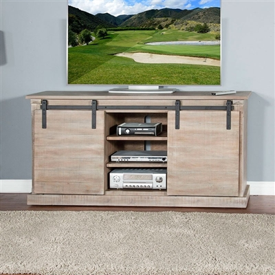 65 Inch TV Console w/ Barn Door in Mountain Ash Finish by Sunny Designs - SD-3577MA-2