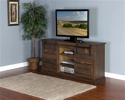 65 Inch TV Console w/ Barn Door in Tobacco Leaf Finish by Sunny Designs - SD-3577TL