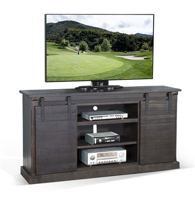 65 Inch TV Console w/ Barn Door in Charred Oak Finish by Sunny Designs - SD-3602CO-F