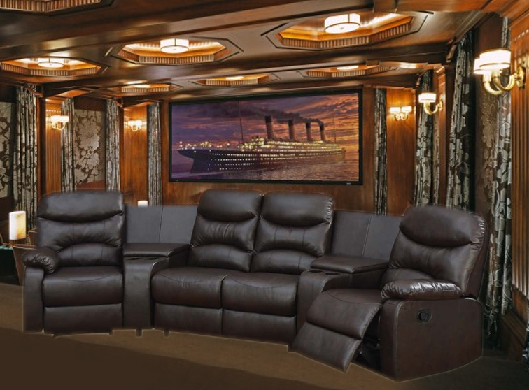 trezzo theater seating 5 piece home theater seating in chocolate leather by theatre delux 50110. Black Bedroom Furniture Sets. Home Design Ideas