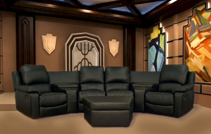 Black Leather Theater Seating Sectional