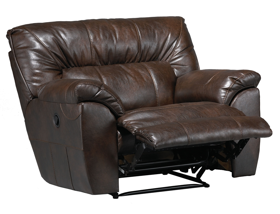 Larkin Power Lay Flat Recliner In Chestnut, Godiva, Or Putty Leather By  Catnapper   61390 7